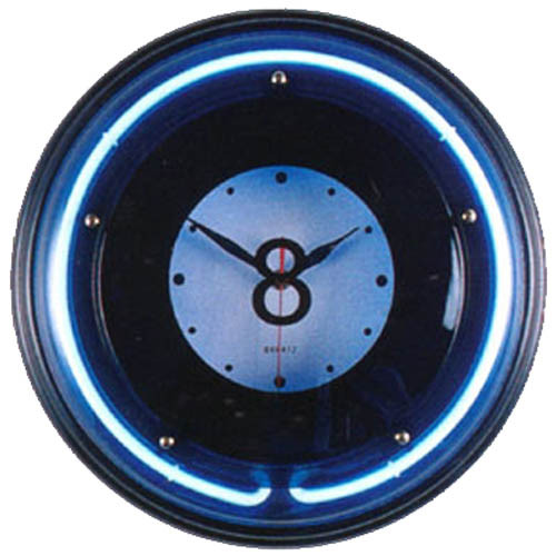 Large Neon Eight Ball Billiard Clock