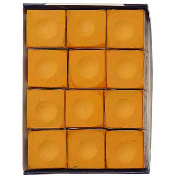 12 pc. Orange Silver Cup Pool Cue Chalk
