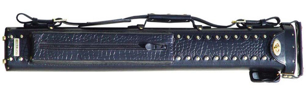 Black Leather Pool Cue Case for Two Cues