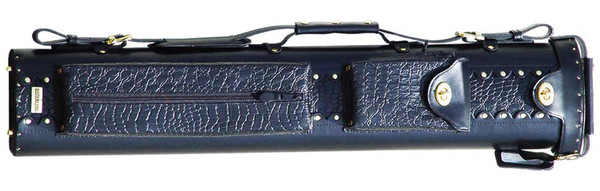 Black Leather Pool Cue Case for Two Cues and Two Extra Shafts