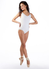 Body con spalline sottili Ballet Rosa Bianco davanti. [Bianco]