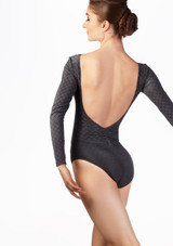 Body Danza a Maniche Lunghe a Motivi Ballet Rosa Grigio indietro. [Grigio]