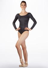 Body Danza a Maniche Lunghe a Motivi Ballet Rosa Grigio davanti. [Grigio]