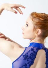 Body Danza a Collo Alto con Inserti in Pizzo Ballet Rosa Rosso davanti. [Blu]