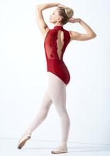 Body Danza a Collo Alto con Inserti in Pizzo Ballet Rosa Blu indietro. [Rosso]