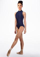 Body Danza a Collo Alto con Inserti in Pizzo Ballet Rosa indietro. [Blu]