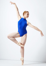 Body Danza a Collo Alto con Inserti in Pizzo Ballet Rosa Blu indietro #3. [Blu]