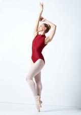 Body Danza a Collo Alto con Inserti in Pizzo Ballet Rosa Blu davanti. [Rosso]