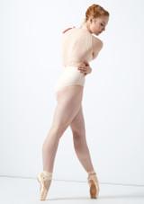Body Danza a Collo Alto con Inserti in Pizzo Ballet Rosa Rosso indietro. [Rosa]