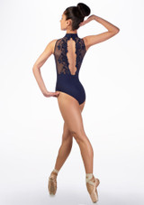Body Danza a Collo Alto con Inserti in Pizzo Ballet Rosa indietro #2. [Blu]