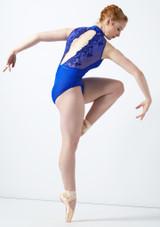 Body Danza a Collo Alto con Inserti in Pizzo Ballet Rosa Blu indietro #4. [Blu]