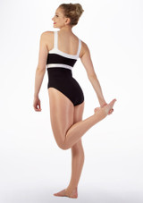 Body Danza con Orlo a contrasto So Danca Nero-Bianco indietro #2. [Nero-Bianco]