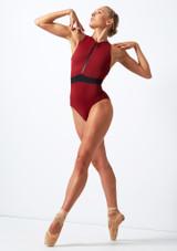 Body con cerniera sul davanti Move Dance Passion Rosso davanti. [Rosso]