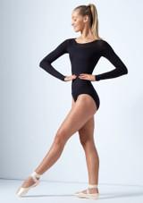 Body con apertura sulla schiena in tessuto trasparente Gia Move Dance Nero davanti. [Nero]