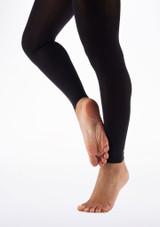 Move Calze da danza in microfibra senza piede Nero lato. [Nero]