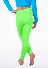 Alegra Girls Shiny Footless Leggings Verde indietro. [Verde]