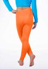 Alegra Girls Shiny Footless Leggings Arancione indietro. [Arancione]