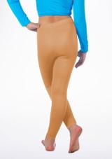 Alegra Girls Shiny Footless Leggings Abbronzatura indietro. [Abbronzatura]