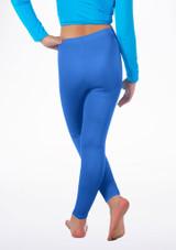 Alegra Girls Shiny Footless Leggings Blu indietro #2. [Blu]