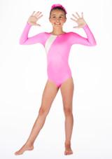 Body ginnico maniche lunghe Podium Alegra per bambine Rosa. [Rosa]