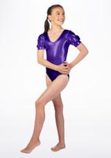 Body Danza Bambina Metallizzato Rosalie Alegra Viola davanti. [Viola]