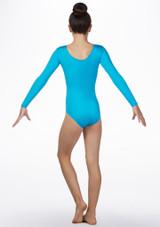 Body ginnico bambine maniche lunghe sirenetta Alegra Blu indietro. [Blu]