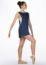Top tunica coprente Ballet Rosa Blu davanti. [Blu]