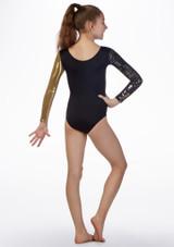 Body ginnico per ragazze maniche lunghe Jupiter Alegra Nero-Oro indietro. [Nero-Oro]