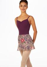 Gonna danza floreale a portafoglio viola davanti. [Viola]