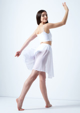 Mezza Gonna Danza Lirica Asimmetrica Eris Move Dance Bianco indietro. [Bianco]
