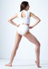 Crop Top Danza con Scollo a Occhiello Callisto Move Dance Bianco indietro. [Bianco]