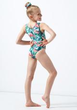 Body ginnico senza maniche per ragazze Flamingo Alegra Verde indietro. [Verde]