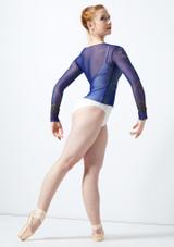 Top stampato a maniche lunghe Ballet Rosa Blu indietro #2. [Blu]