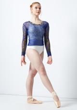 Top stampato a maniche lunghe Ballet Rosa Blu davanti #3. [Blu]