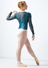 Top stampato a maniche lunghe Ballet Rosa Blu indietro. [Blu]
