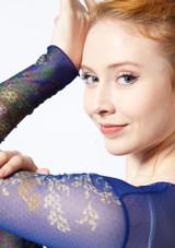 Top stampato a maniche lunghe Ballet Rosa Blu davanti #4. [Blu]