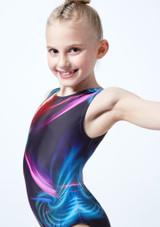 Body ginnico senza maniche stampato per bambine Lightshow Alegra Grigio davanti #2. [Grigio]
