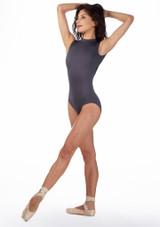 Body Danza a Collo Alto e Ricami Ballet Rosa Grigio davanti. [Grigio]