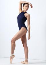 Body Danza in Velluto Mirella Blu davanti. [Blu]