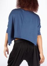 Dincwear Maglia corta ali di pipistrello per donna Blu #2. [Blu]