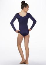Body ginnico bambine maniche lunghe Starburst Alegra Blu davanti. [Blu]