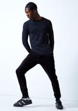 Top da danza per uomo a maniche lunghe Fusion Move Dance Blu scuro Dietro-1 [Blu scuro]