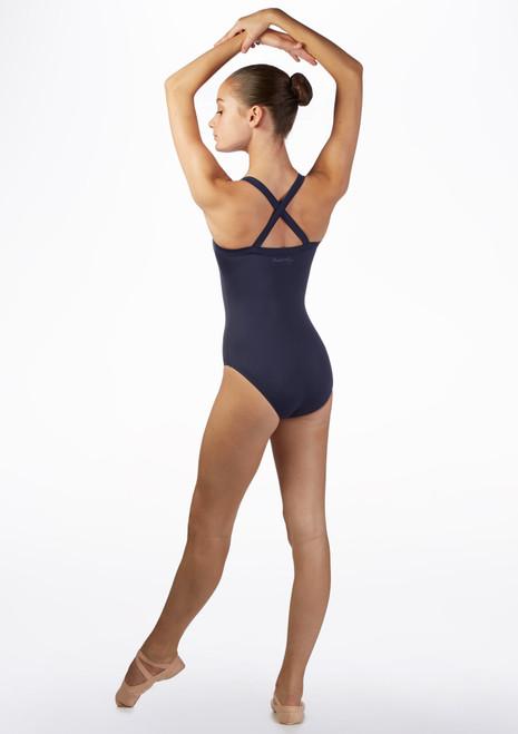 Body Danza con Scollo Dritto e Incrocio Sulla Schiena Ballet Rosa Blu indietro. [Blu]