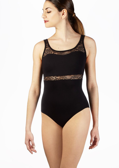 Body Danza con Spalline Spesse e Inserti in Pizzo So Danca Nero davanti. [Nero]