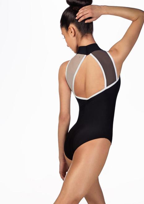 Body con tessuto a rete a contrasto Ballet Rosa Nero davanti. [Nero]