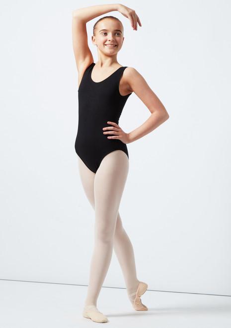 Body con scollo e spalline spesse Vivien per teenagers Move Dance Nero davanti. [Nero]
