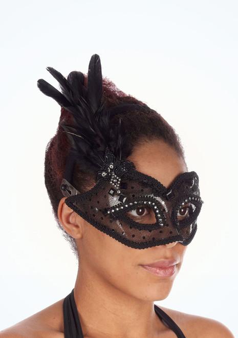 Maschera trasparente con piuma Nero. [Nero]