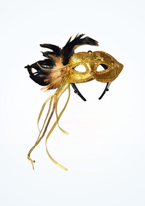 Maschera per occhi con perle e piume Oro. [Oro]
