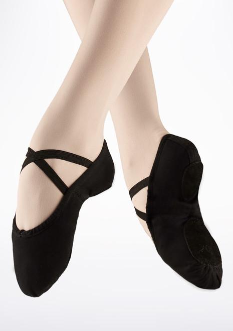 Scarpette danza classica Nero in tela suola divisa Move. [Nero]
