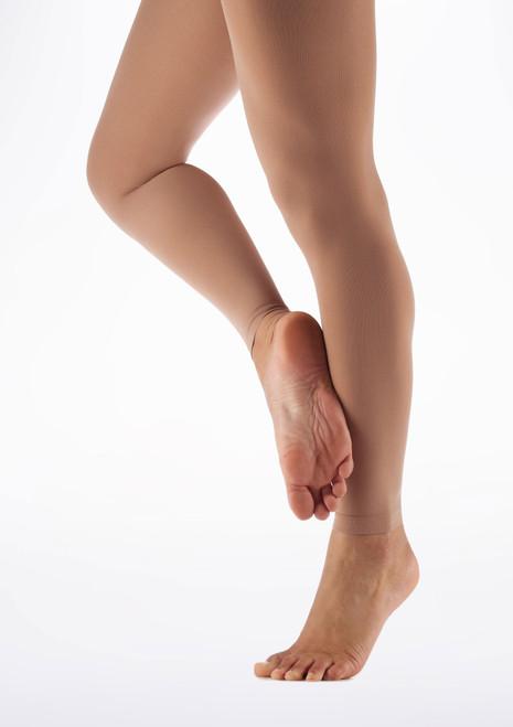 Calze Danza in Microfibra Senza Piede Move Dance Abbronzato Abbronzatura davanti. [Abbronzatura]